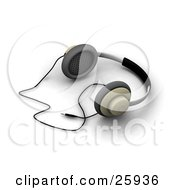 Clipart Illustration Of A Pair Of Corded Headphones Resting On A White Surface by KJ Pargeter
