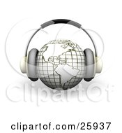 Clipart Illustration Of Headphones On A White And Yellow Globe Featuring The Americas Over White by KJ Pargeter