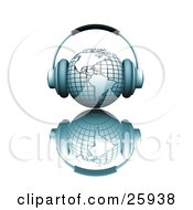 Clipart Illustration Of A Pair Of Headphones On A Blue Globe Featuring The Americas Over A White Reflective Surface by KJ Pargeter