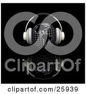 Clipart Illustration Of A Pair Of Headphones On A Globe Featuring The Americas Over A Black Reflective Surface