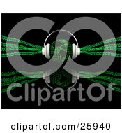 Clipart Illustration Of Headphones On Top Of A Green Globe Featuring The Americas With Binary Code