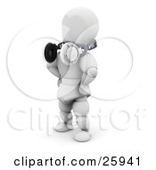 Clipart Illustration Of A White Character Standing With Headphones Around His Neck Over White by KJ Pargeter