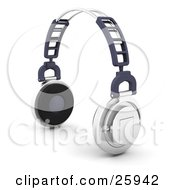 Clipart Illustration Of A Pair Of Chrome Noise Canceling Headphones With Thick Cushioning Over White by KJ Pargeter
