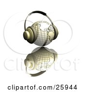Clipart Illustration Of A Pair Of Headphones On A Yellow Globe Featuring The Americas Over A White Reflective Surface by KJ Pargeter
