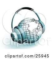 Clipart Illustration Of Headphones On A White And Blue Globe Featuring The Americas Over White