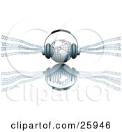 Clipart Illustration Of Headphones On Top Of A Blue Globe Featuring The Americas With Binary Code