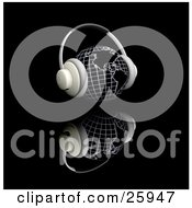 Clipart Illustration Of A Pair Of Headphones On A Globe Featuring The Americas Facing Slightly Right Over A Black Reflective Surface by KJ Pargeter