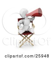Clipart Illustration Of A White Character In A Directors Chair Shouting Through A Megaphone