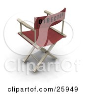 Red Movie Directors Chair On White