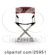 Clipart Illustration Of The Back Of A Red Directors Chair Over White