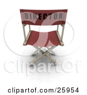 Clipart Illustration Of A Red Chair With Director On The Back Over White