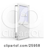Clipart Illustration Of An Open Office Door With An Open Sign Hanging On The Window by KJ Pargeter