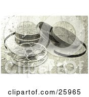 Clipart Illustration Of An Open Movie Film Reel And Cases With A Peeling Grunge Texture