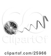 Clipart Illustration Of Film Coming Out Of A Metal Reel Over White by KJ Pargeter