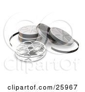 Clipart Illustration Of An Open Movie Film Reel And Cases Over White