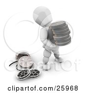 Clipart Illustration Of A White Character Carrying A Stack Of Film Reels In A Production Studio