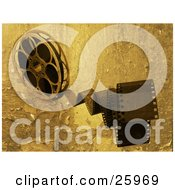 Clipart Illustration Of Movie Film Snapping Forwards Spinning From A Movie Reel With A Peeling Grunge Texture