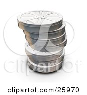 Clipart Illustration Of Stacked Closed Metal Film Reels Over White by KJ Pargeter