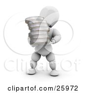 Clipart Illustration Of A White Character Carrying Film Reels In His Arms by KJ Pargeter