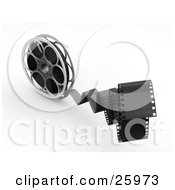 Clipart Illustration Of Movie Film Snapping Forwards Spinning From A Movie Reel Over White by KJ Pargeter