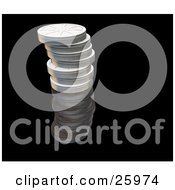 Clipart Illustration Of A Stack Of Closed Metal Film Reels Over Black by KJ Pargeter
