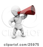 Clipart Illustration Of A White Character Speaking Through A Red Loud Hailer