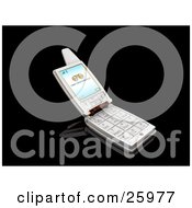 Clipart Illustration Of A Silver Flip Phone With A New Voice Message Notice On The Screen Over Black by KJ Pargeter