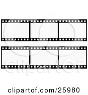 Clipart Illustration Of Two Rows Of Negative Film Strips