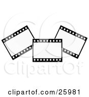 Clipart Illustration Of Three Film Strip Negatives Over White