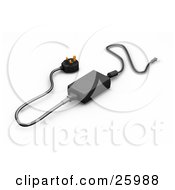 Clipart Illustration Of A Black English Power Supply Adapter With Golden Prongs