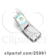Clipart Illustration Of A Silver Flip Phone With A New Message Notice On The Screen Over White by KJ Pargeter