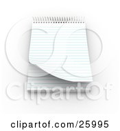 Clipart Illustration Of A Spiraled Notepad With Blank Pages Resting On A White Surface