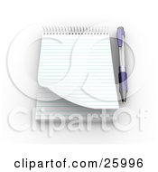Clipart Illustration Of A Pen Resting Beside A Spiral Notepad With Blank Pages Resting On A White Surface by KJ Pargeter