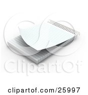 Clipart Illustration Of A Spiral Notepad With Blank Pages Resting On A White Surface by KJ Pargeter