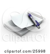 Clipart Illustration Of A Pen Resting On A Spiral Notepad With Blank Pages Resting On A White Surface by KJ Pargeter