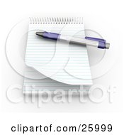 Clipart Illustration Of A Pen On Top Of A Spiral Notepad With Blank Pages Resting On A White Surface by KJ Pargeter