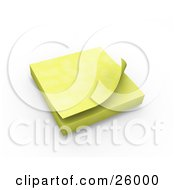 Block Of Yellow Sticky Notes Resting On A Desk Over White