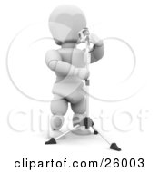 Clipart Illustration Of A White Character Singing Into A Vintage Microphone In A Recording Studio