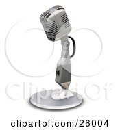 Clipart Illustration Of A Chrome Vintage Microphone With A Little Table Top Stand On A White Background