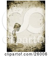 Clipart Illustration Of A Retro Microphone Over A Grunge Background Bordered By Music Notes