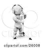 Clipart Illustration Of A White Character Wearing Headphones And Singing Into A Vintage Microphone In A Recording Studio