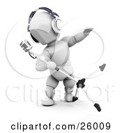 Clipart Illustration Of A White Character Wearing Headphones Tipping And Singing Into A Vintage Microphone In A Recording Studio by KJ Pargeter