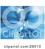 Clipart Illustration Of A Retro Chrome Microphone Over A Blue Bursting Background by KJ Pargeter
