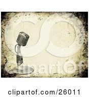 Clipart Illustration Of A Vintage Microphone Over A Grunge Background Bordered By Music Notes