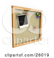 Clipart Illustration Of A Cork Board With Red Green Yellow And Blue Pins With A Blank Polaroid Picture