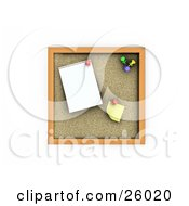 Clipart Illustration Of A Cork Board With A Blank Sticky Note And Paper by KJ Pargeter
