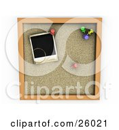 Clipart Illustration Of A Black Stained Polaroid Picture With Colorful Pins On A Cork Board