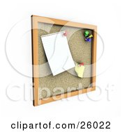Clipart Illustration Of A Blank Paper And Sticky Note Tacked Up On A Cork Board by KJ Pargeter