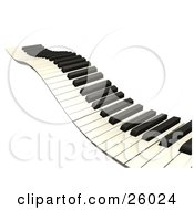 Clipart Illustration Of A Wavy Keyboard Heading Off Into The Distance Over A White Background by KJ Pargeter #COLLC26024-0055