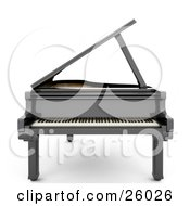 Clipart Illustration Of A Glossy Black Grand Piano With The Top Open Facing Front Over White by KJ Pargeter